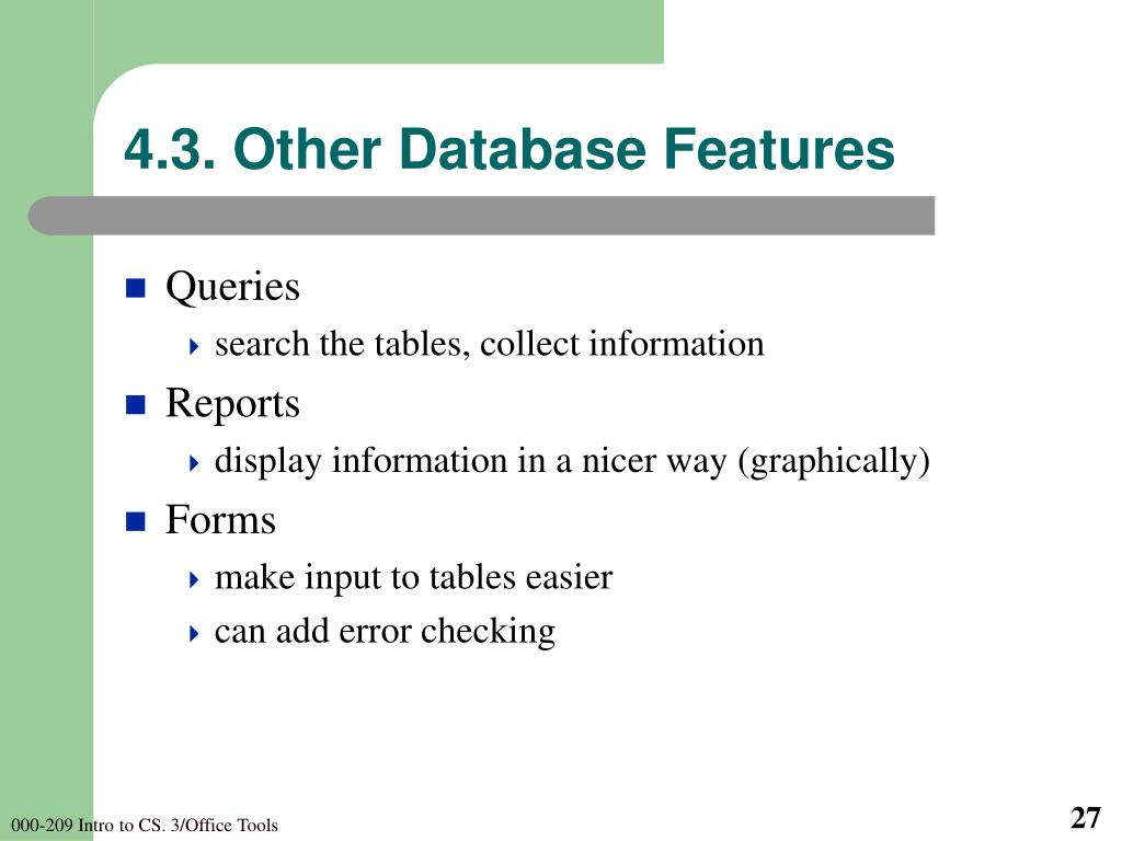 4.3. Other Database Features