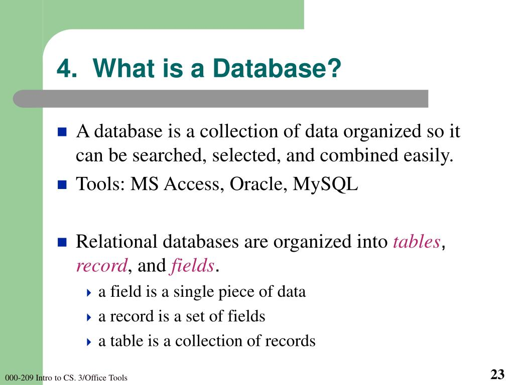 4.  What is a Database?