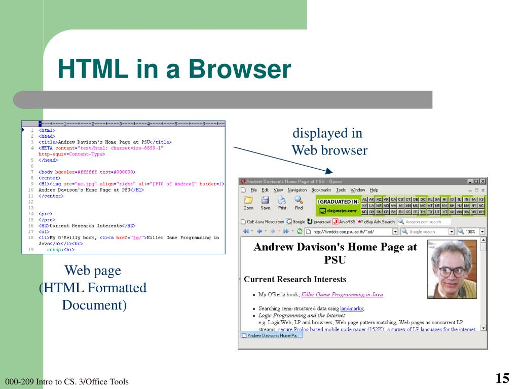 HTML in a Browser