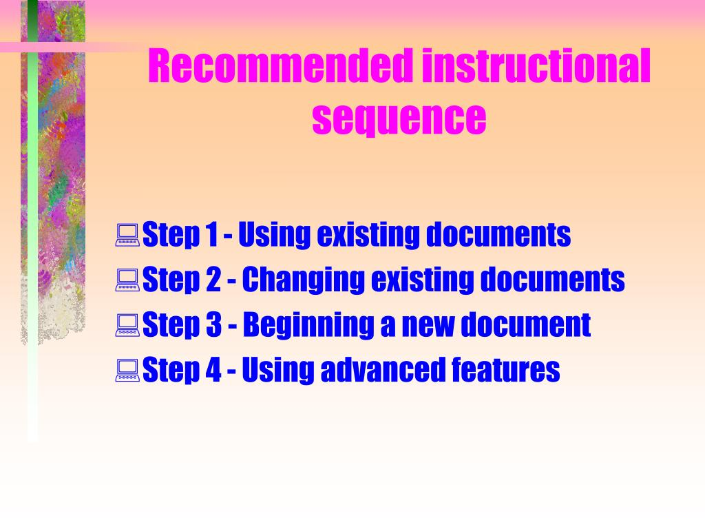 Recommended instructional sequence