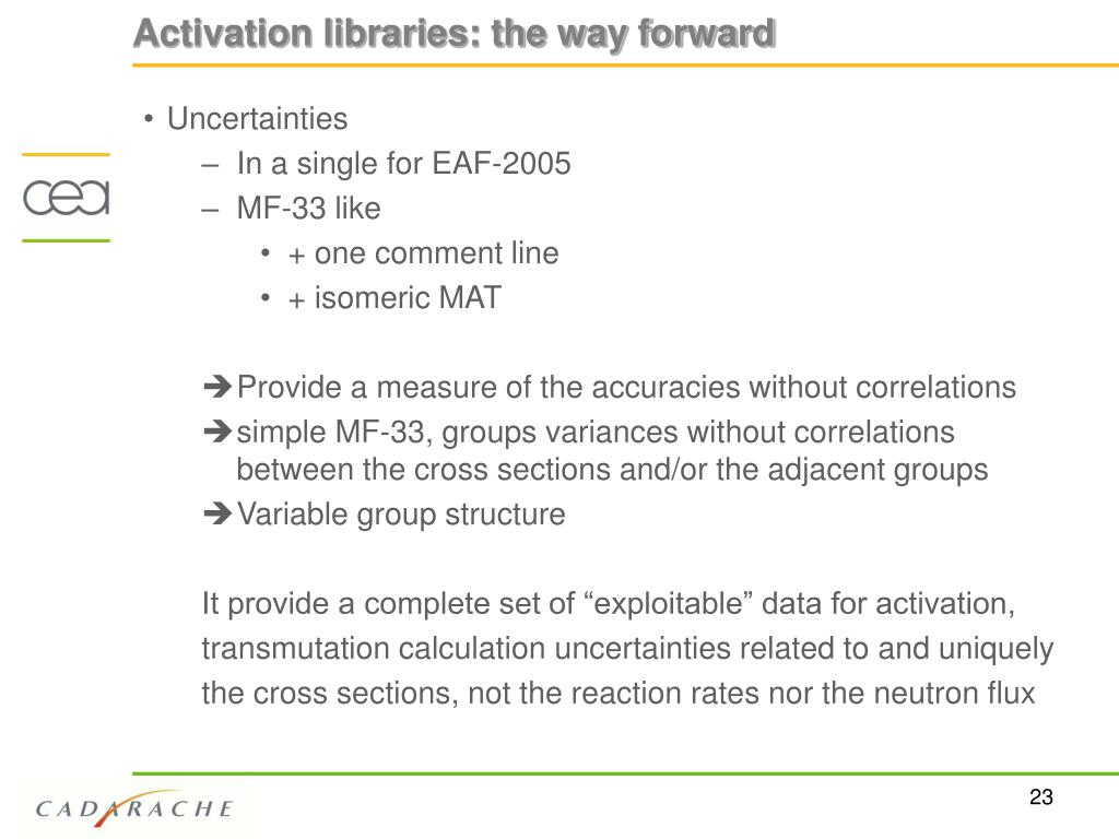 Activation libraries: the way forward