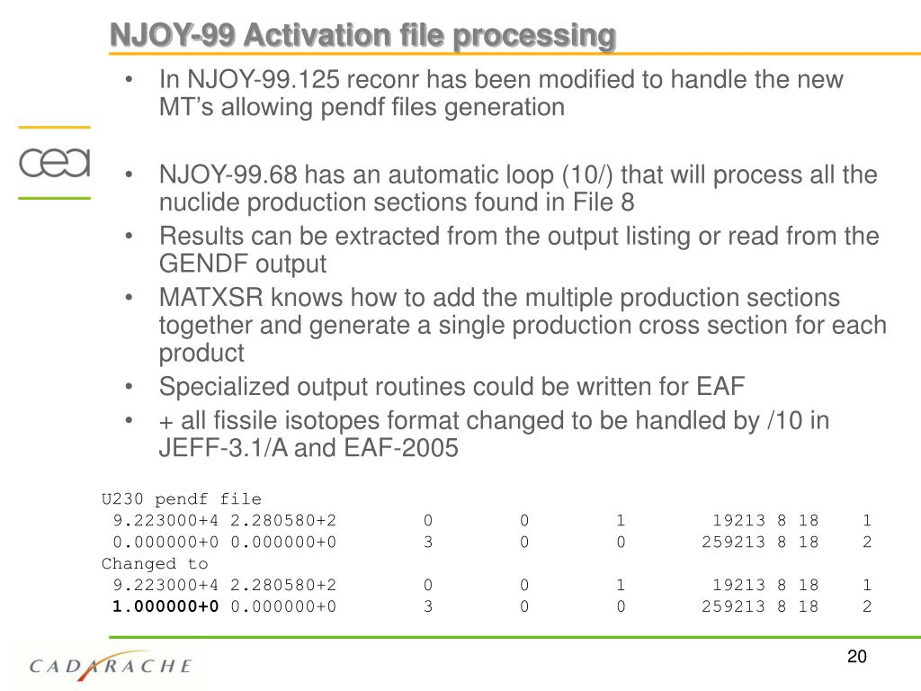 NJOY-99 Activation file processing
