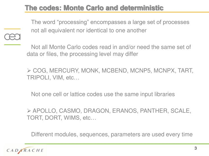 The codes monte carlo and deterministic