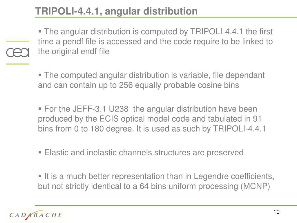 TRIPOLI-4.4.1, angular distribution