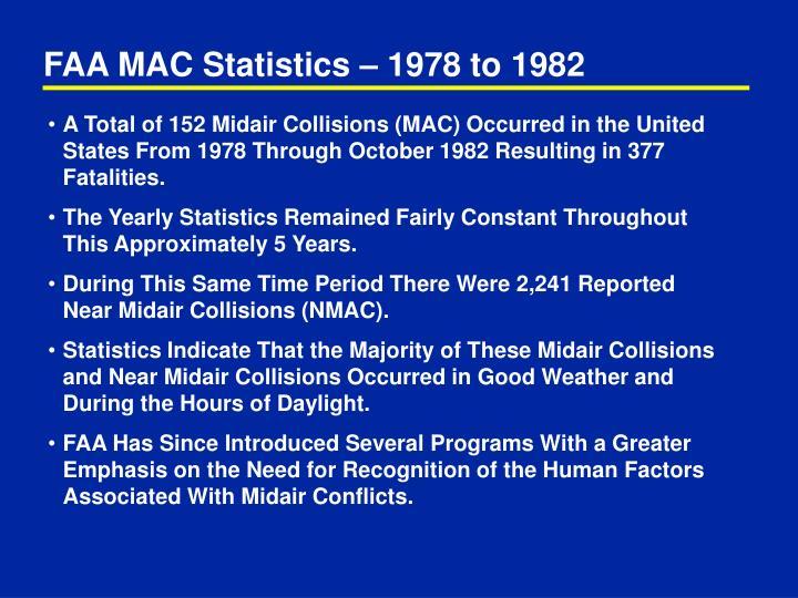 FAA MAC Statistics – 1978 to 1982