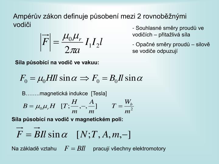 Ampérův zákon definuje působení mezi 2 rovnoběžnými vodiči