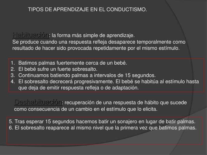 TIPOS DE APRENDIZAJE EN EL CONDUCTISMO.