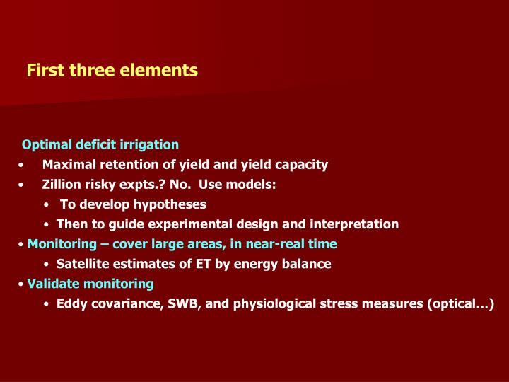 First three elements