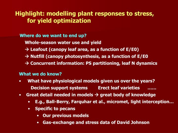 Highlight: modelling plant responses to stress,
