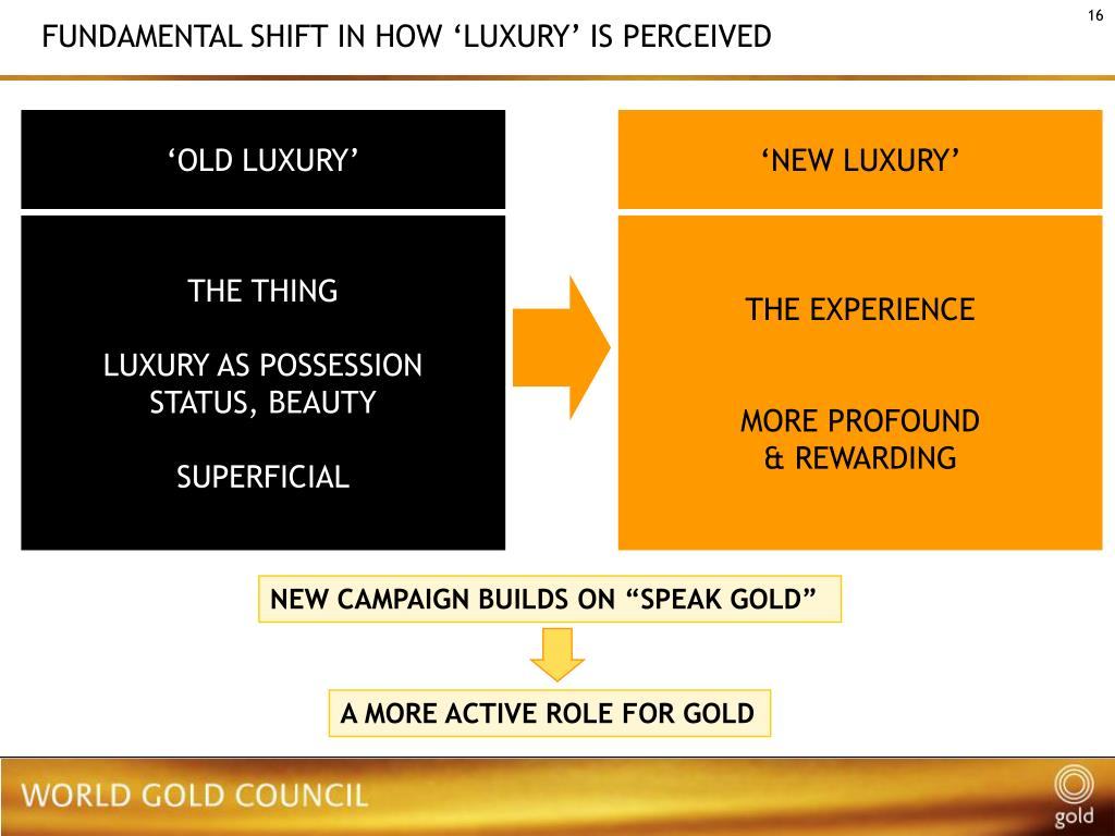 FUNDAMENTAL SHIFT IN HOW 'LUXURY' IS PERCEIVED