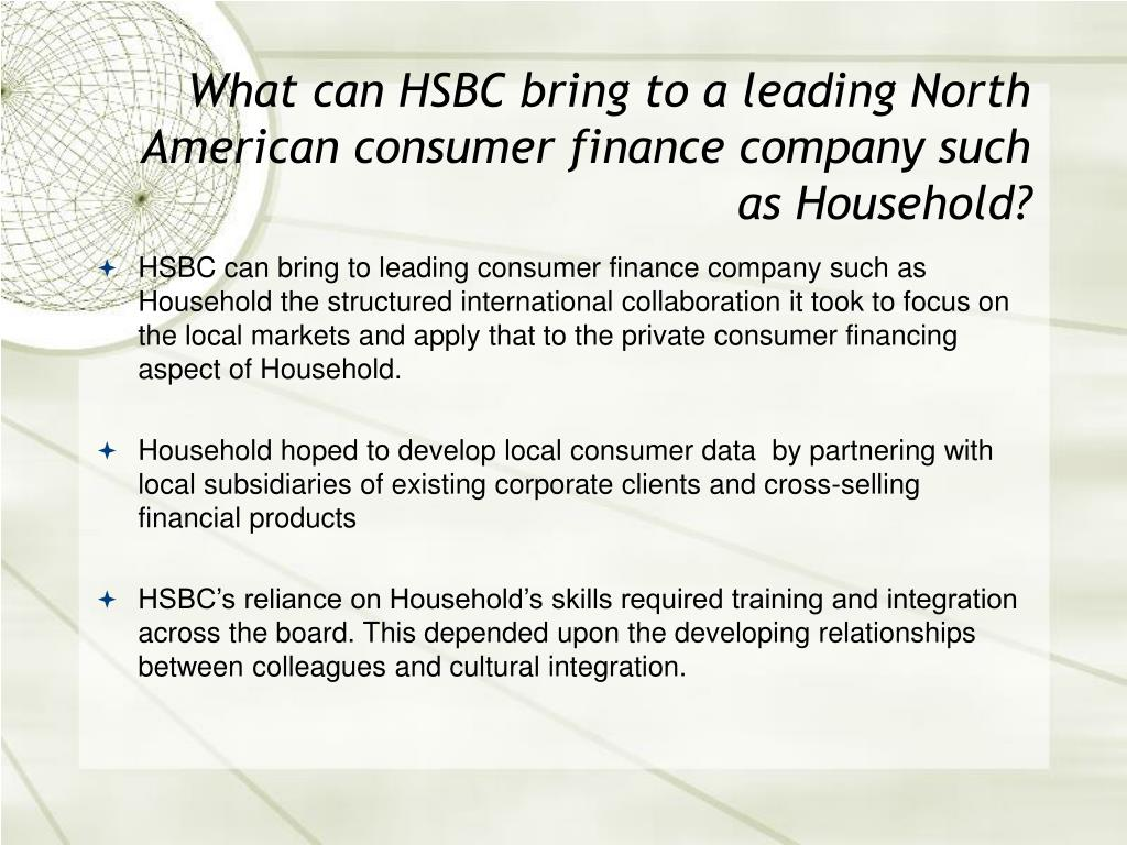 What can HSBC bring to a leading North American consumer finance company such as Household?