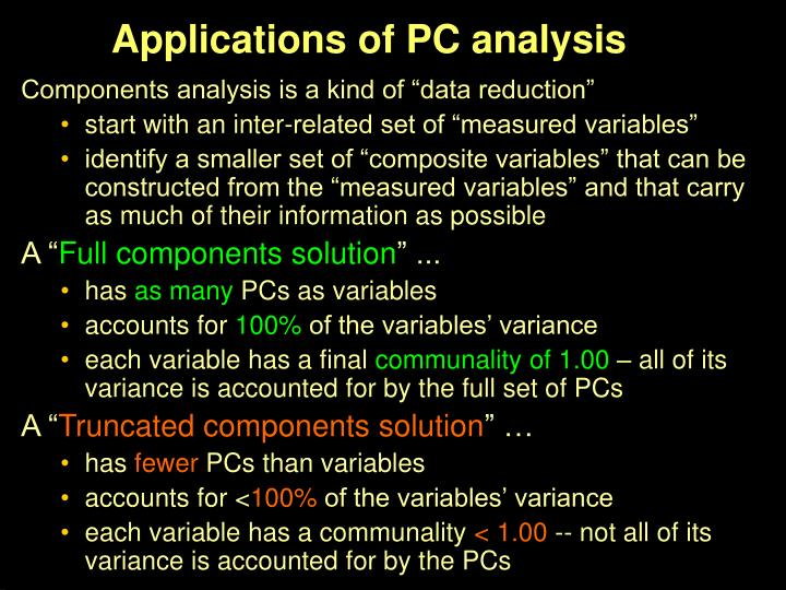 Applications of PC analysis