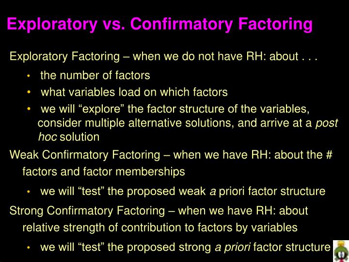 Exploratory vs confirmatory factoring