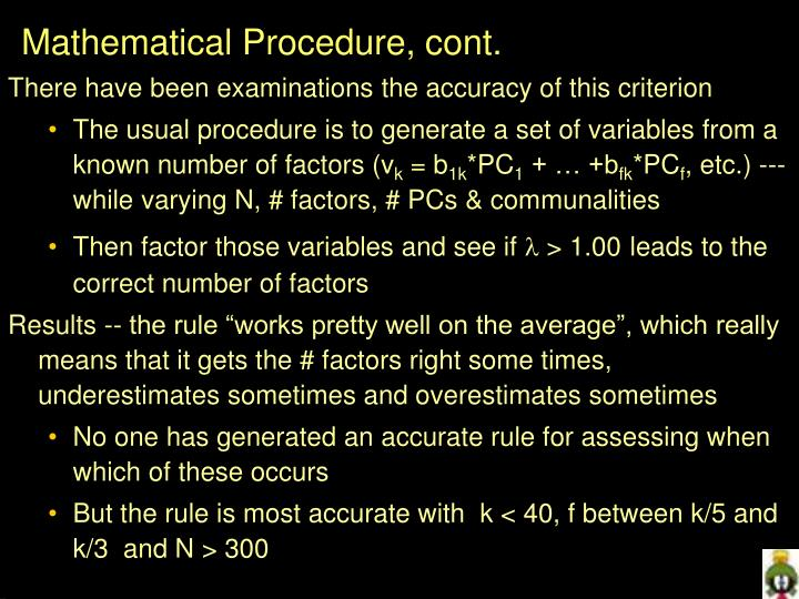 Mathematical Procedure, cont.