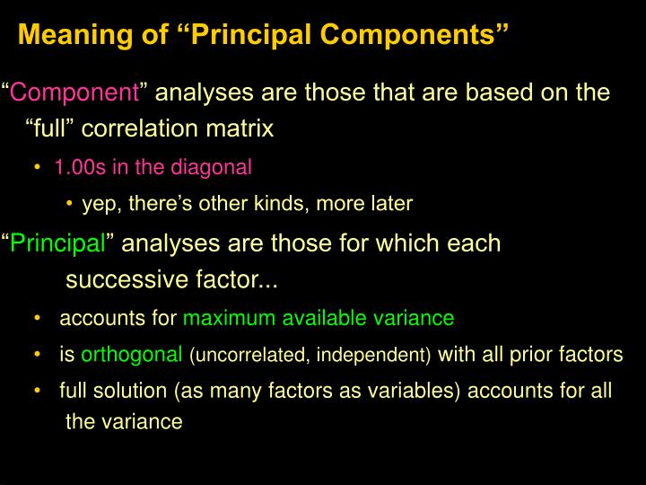 "Meaning of ""Principal Components"""