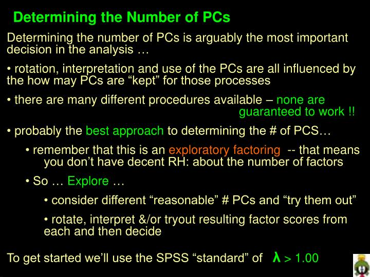 Determining the Number of PCs