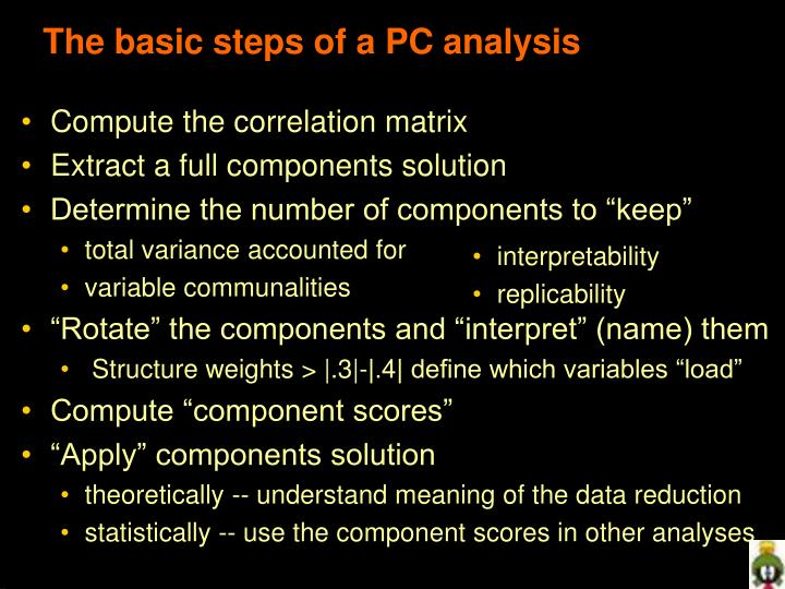 The basic steps of a PC analysis