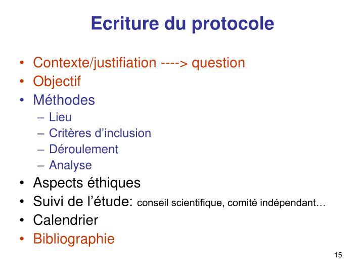 Ecriture du protocole