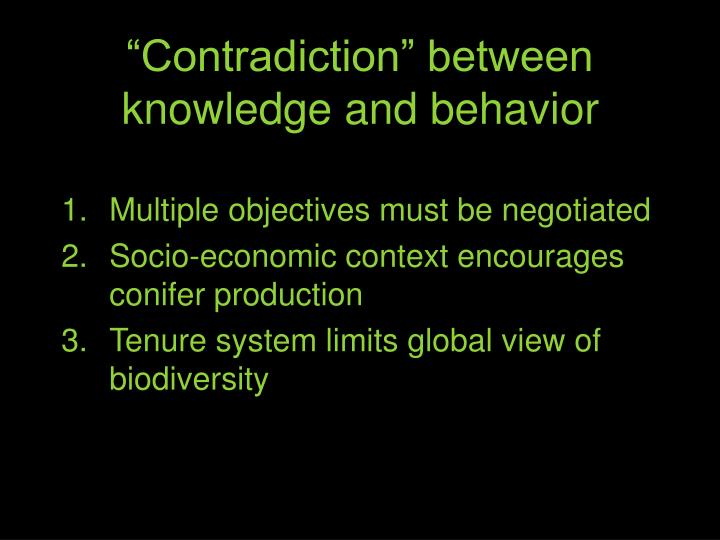 """Contradiction"" between knowledge and behavior"