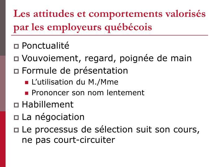 Les attitudes et comportements valorisés par les employeurs québécois