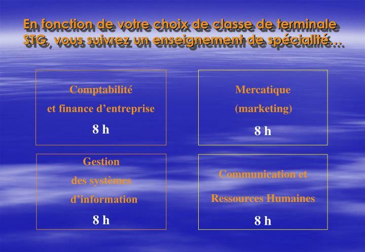 En fonction de votre choix de classe de terminale STG, vous suivrez un enseignement de spcialit