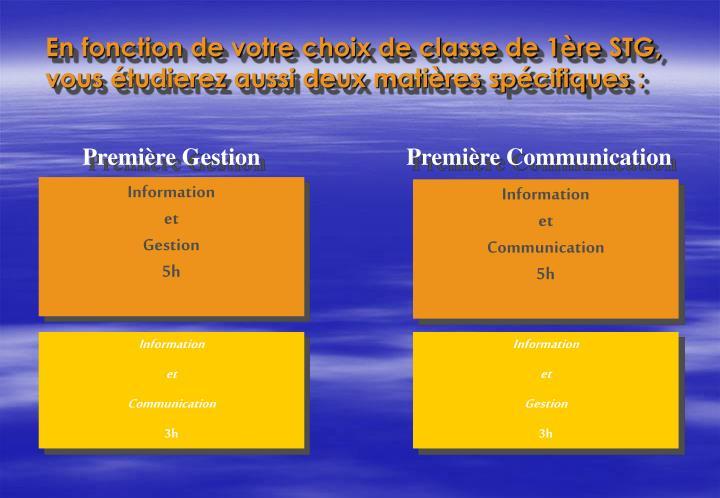 En fonction de votre choix de classe de 1re STG, vous tudierez aussi deux matires spcifiques :