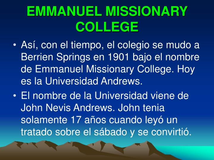 EMMANUEL MISSIONARY COLLEGE