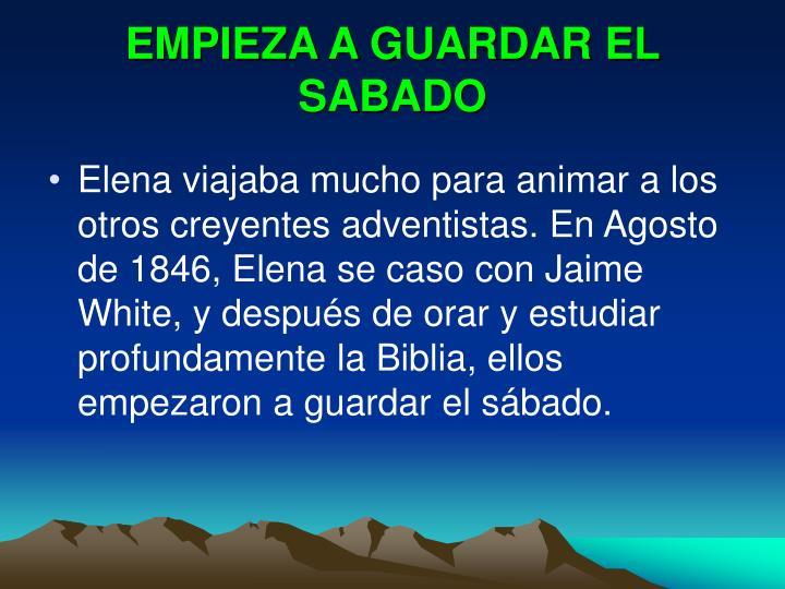 EMPIEZA A GUARDAR EL SABADO