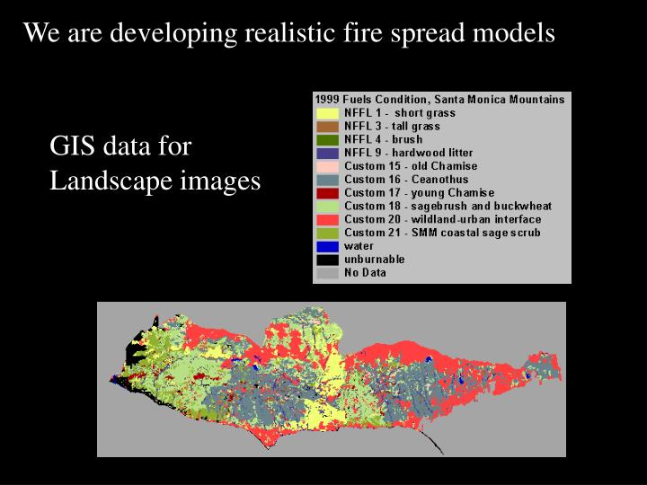 We are developing realistic fire spread models