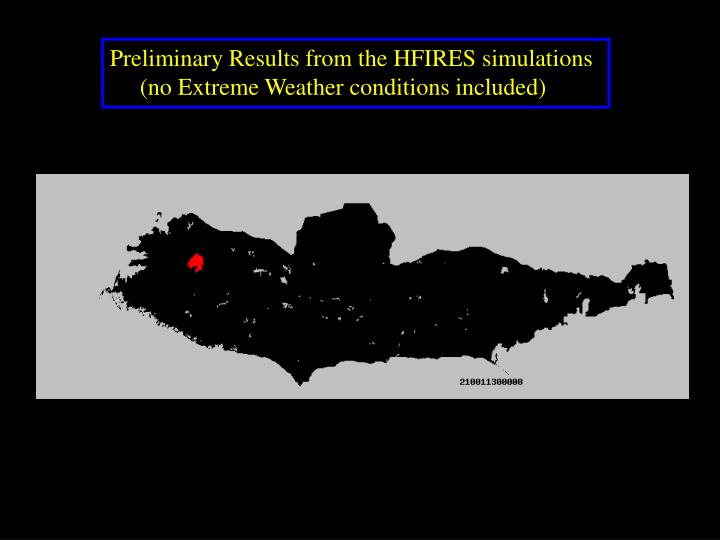Preliminary Results from the HFIRES simulations