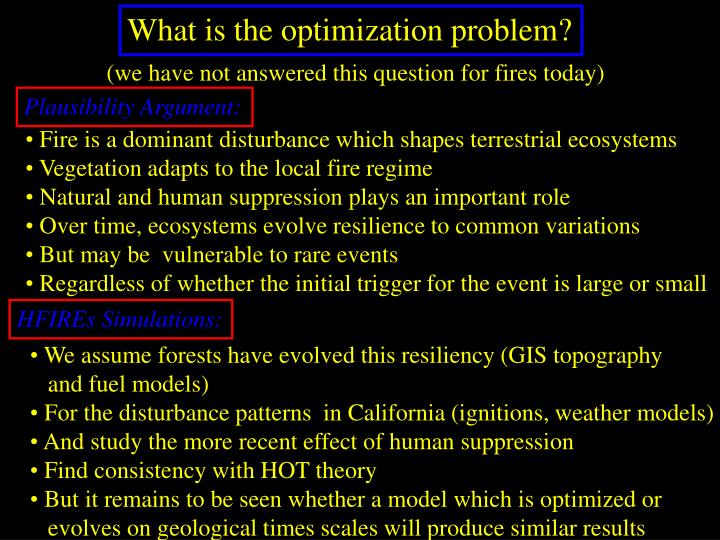 What is the optimization problem?