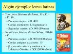 alg n ejemplo letras latinas