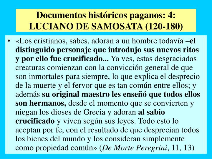 Documentos históricos paganos: 4: LUCIANO DE SAMOSATA (120-180)