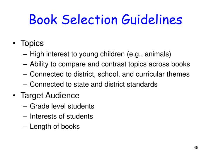 Book Selection Guidelines