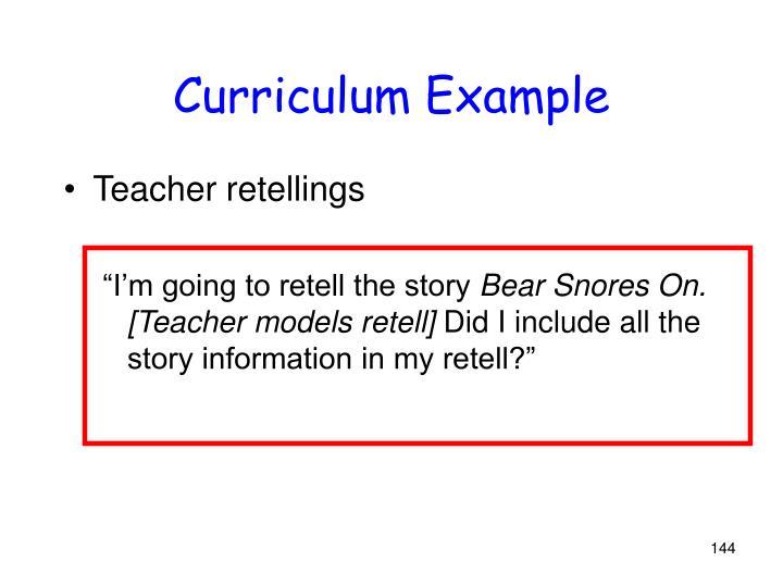 Curriculum Example