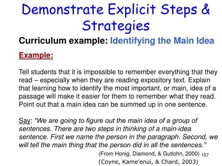 Demonstrate Explicit Steps & Strategies