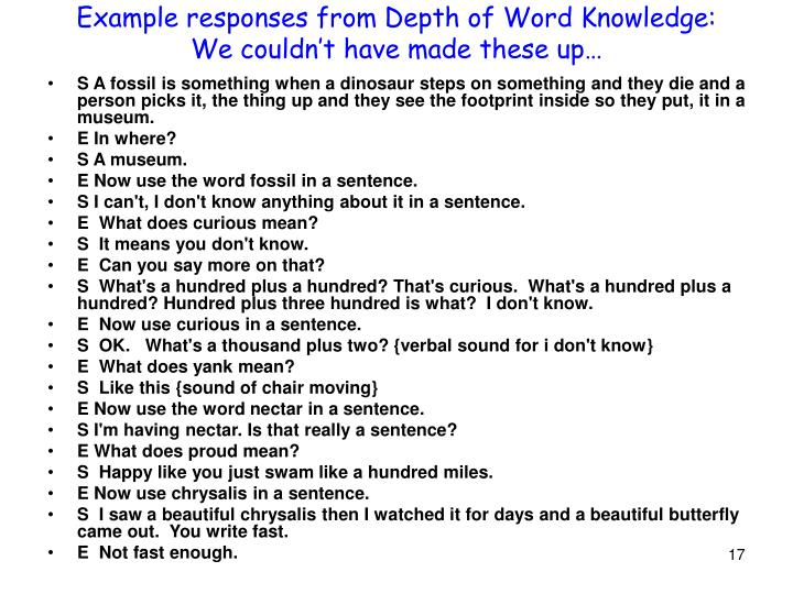 Example responses from Depth of Word Knowledge: