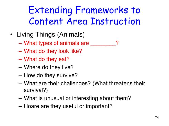 Extending Frameworks to Content Area Instruction