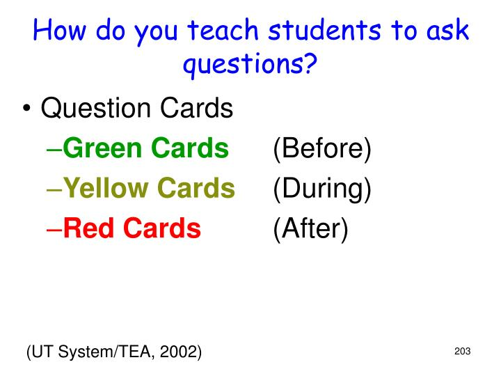 How do you teach students to ask questions?