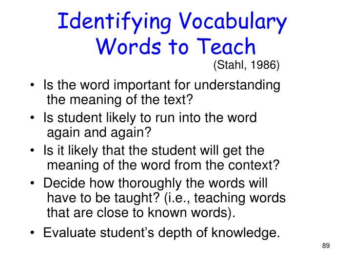 Identifying Vocabulary