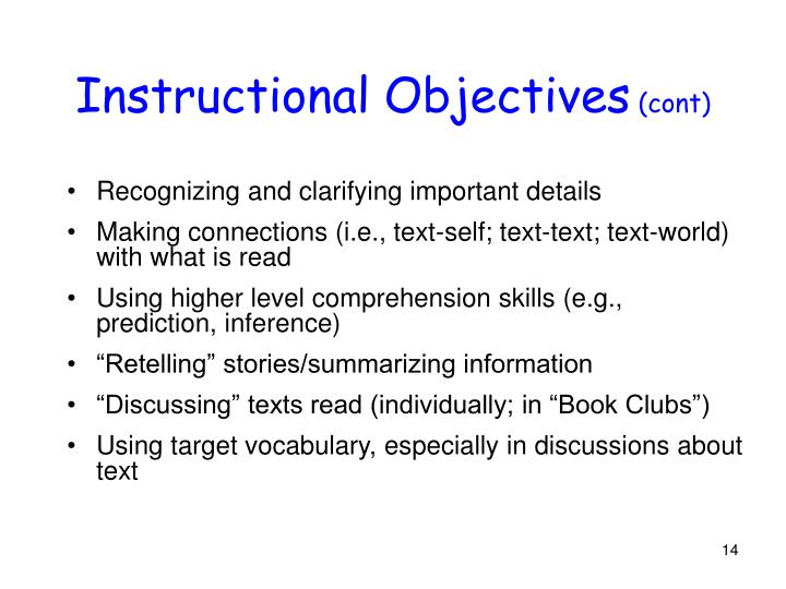Instructional Objectives