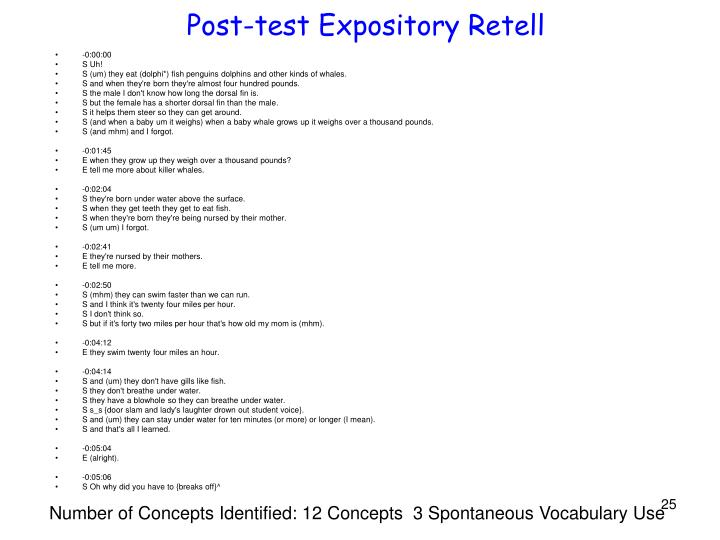 Post-test Expository Retell