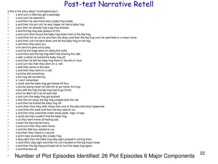 Post-test Narrative Retell