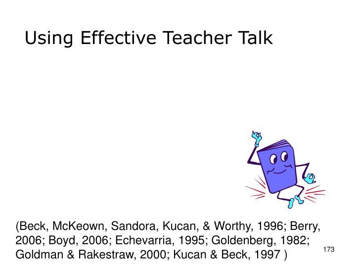 Using Effective Teacher Talk