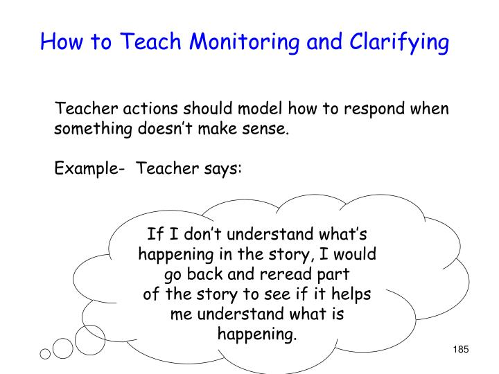 How to Teach Monitoring and Clarifying