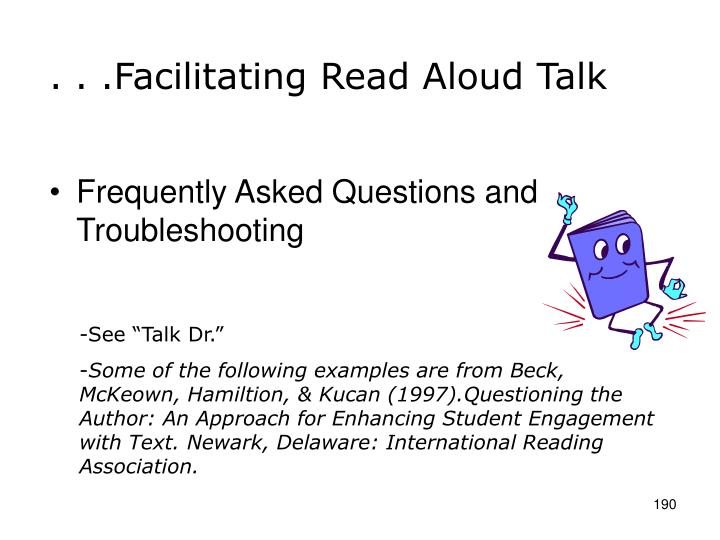 . . .Facilitating Read Aloud Talk