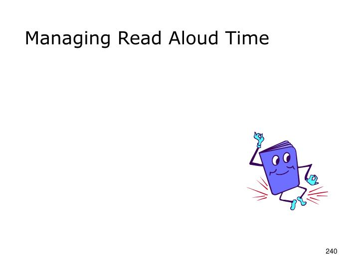 Managing Read Aloud Time