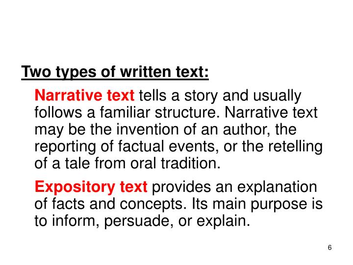 Two types of written text: