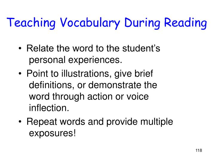Teaching Vocabulary During Reading