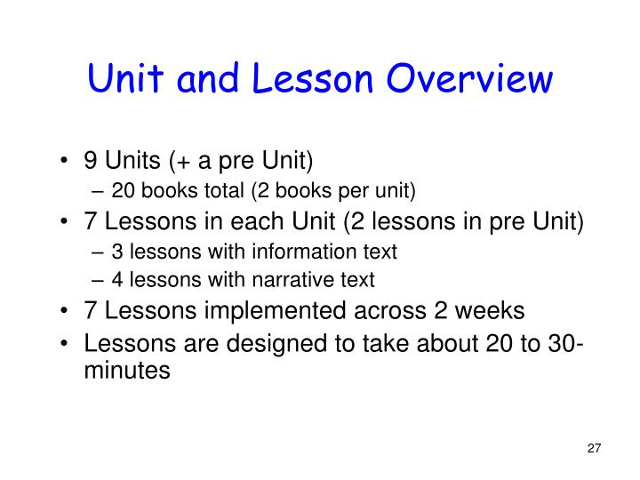 Unit and Lesson Overview